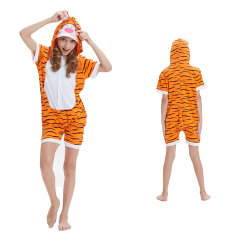 Kids Summer Animal Pajamas Tigger Cosplay Costume CMD132