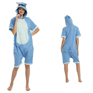 Unisex Adult Summer Animal Pajamas Blue Stitch Cosplay Costume CMD113 - cosplaymadness