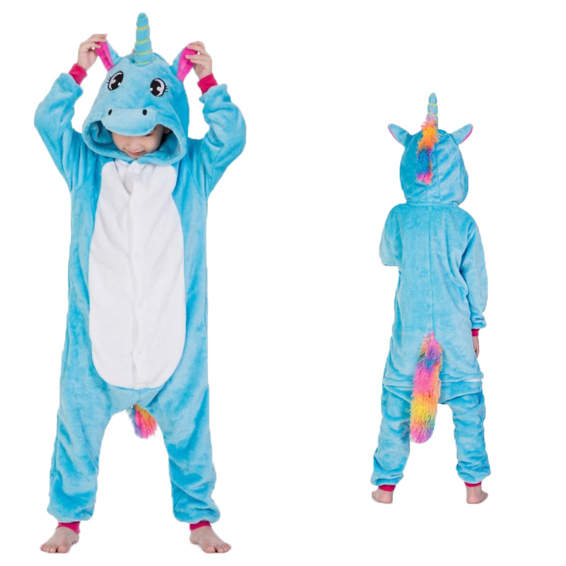 Unisex Kids Animal Pajamas Blue Unicorn Cosplay Costume CMD121 - cosplaymadness