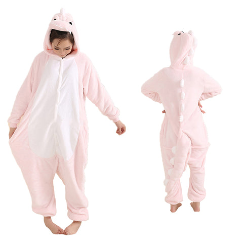 Unisex Pink Dinosaur Kigurumi Animal Onesie Pajamas Cosplay Costume CMD008-PD - cosplaymadness