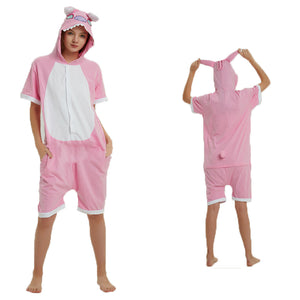 Unisex Adult Summer Animal Pajamas Pink Stitch Cosplay Costume CMD114 - cosplaymadness