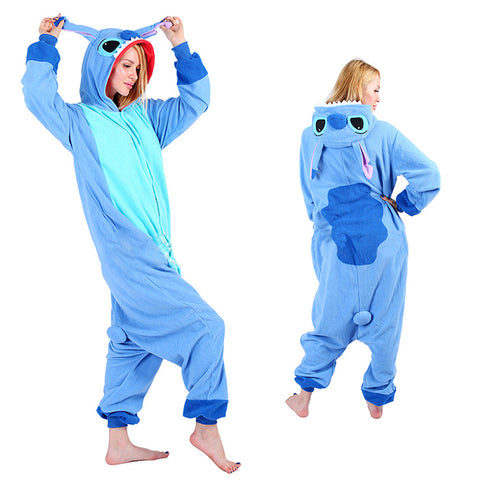 Unisex Blue Stitch Kigurumi Animal Onesie Pajamas Cosplay Costume CMD024-Blue Stitch - cosplaymadness