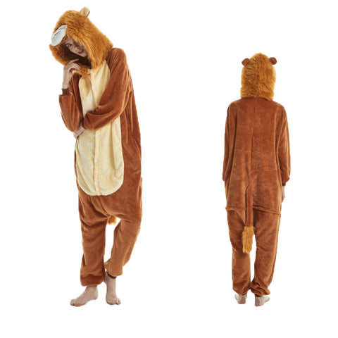 Unisex Adult Animal Pajamas Lion Kigurumi Cosplay Costume CMD107 - cosplaymadness