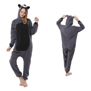 Animal Pajamas Grey Raccoon Kigurumi Cosplay Costume CMD155