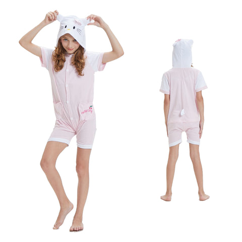 Kids Summer Animal Pajamas Hello Kitty Cosplay Costume CMD141