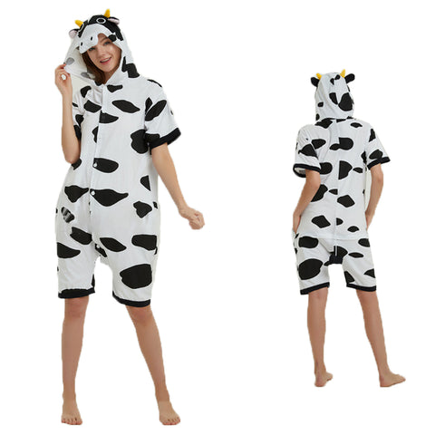 Unisex Adult Summer Animal Pajamas Cow Cosplay Costume CMD115 - cosplaymadness
