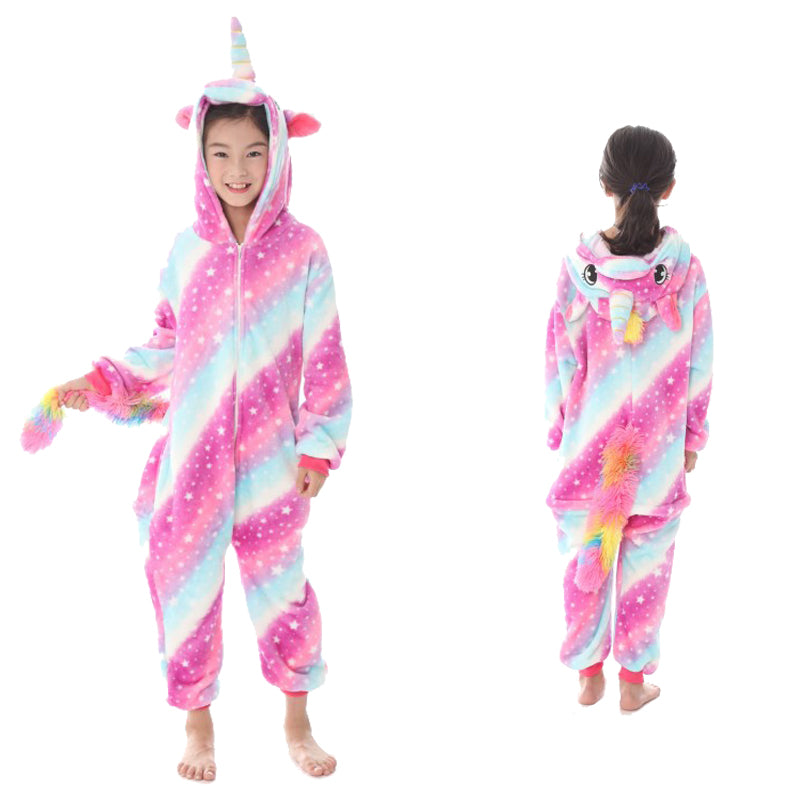 Unisex Kids Animal Pajamas Striped Unicorn/Pegasus Cosplay Costume CMD126 - cosplaymadness