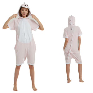 Unisex Adult Summer Animal Pajamas Pink Dinosaur Cosplay Costume CMD116 - cosplaymadness
