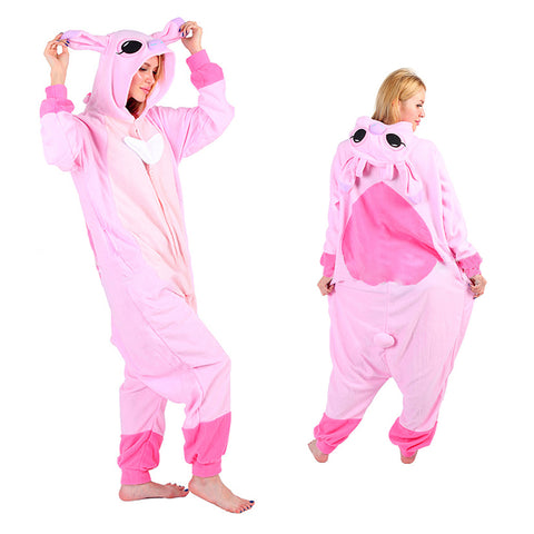 Unisex Pink Stitch Kigurumi Animal Onesie Pajamas Cosplay Costume CMD025-Pink Stitch - cosplaymadness