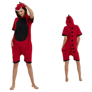 Unisex Adult Summer Animal Pajamas Red Dinosaur Cosplay Costume CMD112 - cosplaymadness