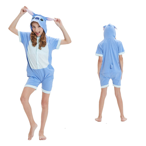 Kids Summer Animal Pajamas Blue Stitch Cosplay Costume CMD133