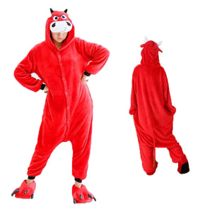 Red Cow Kigurumi Animal Onesie Pajamas Cosplay Costume CMD017