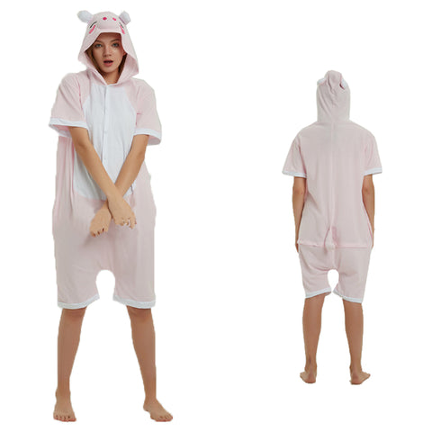 Unisex Adult Summer Animal Pajamas Pink Piggy Cosplay Costume CMD120 - cosplaymadness