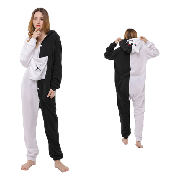 Animal Pajamas Black & White Bear Kigurumi Cosplay Costume CMD156