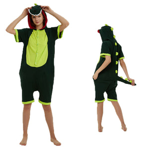 Unisex Adult Summer Animal Pajamas Green Dinosaur Cosplay Costume CMD111 - cosplaymadness