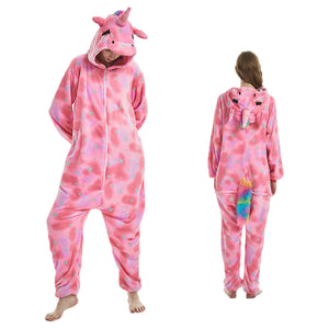 Unisex Adult Animal Pajamas Pink Pegasus Kigurumi Cosplay Costume CMD103 - cosplaymadness