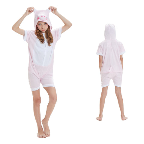 Kids Summer Animal Pajamas Pink Piggy Cosplay Costume CMD140