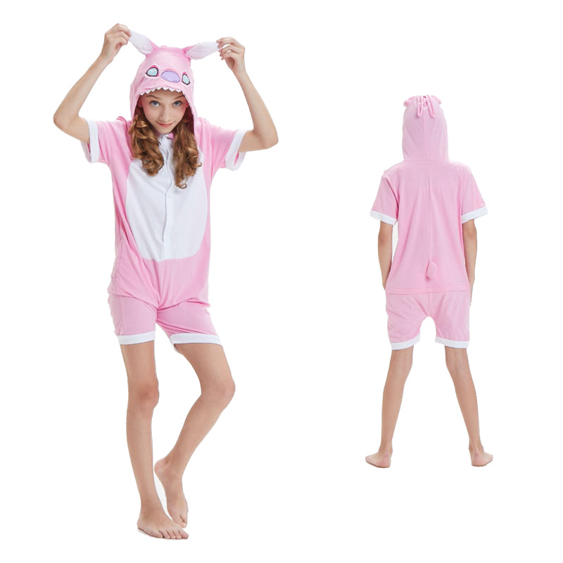 Kids Summer Animal Pajamas Pink Stitch Cosplay Costume CMD134