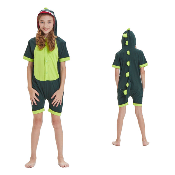 Kids Summer Animal Pajamas Green Dinosaur Cosplay Costume CMD142