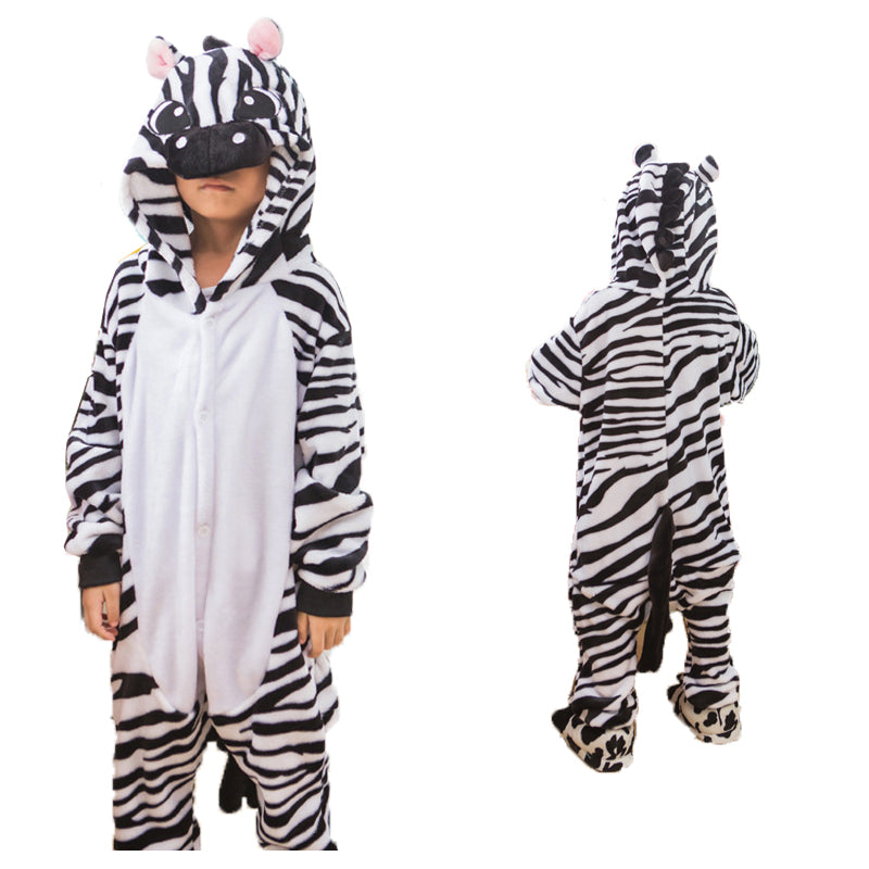Unisex Kids Animal Pajamas Zebra Cosplay Costume CMD130 - cosplaymadness