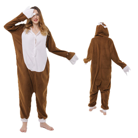 Animal Pajamas Brown Sloth Kigurumi Cosplay Costume CMD160