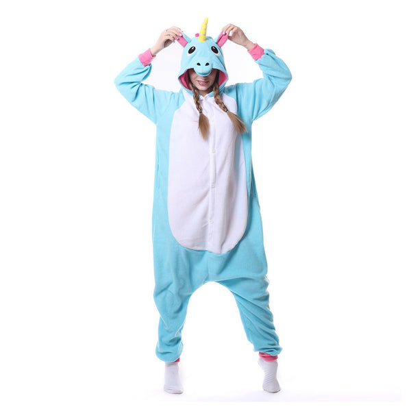 Blue Unicorn Kigurumi Animal Onesie Pajamas Cosplay Costume CMD026