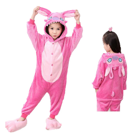 Kids Pink Stitch Animal Onesie Pajamas Cosplay Costume CMD038
