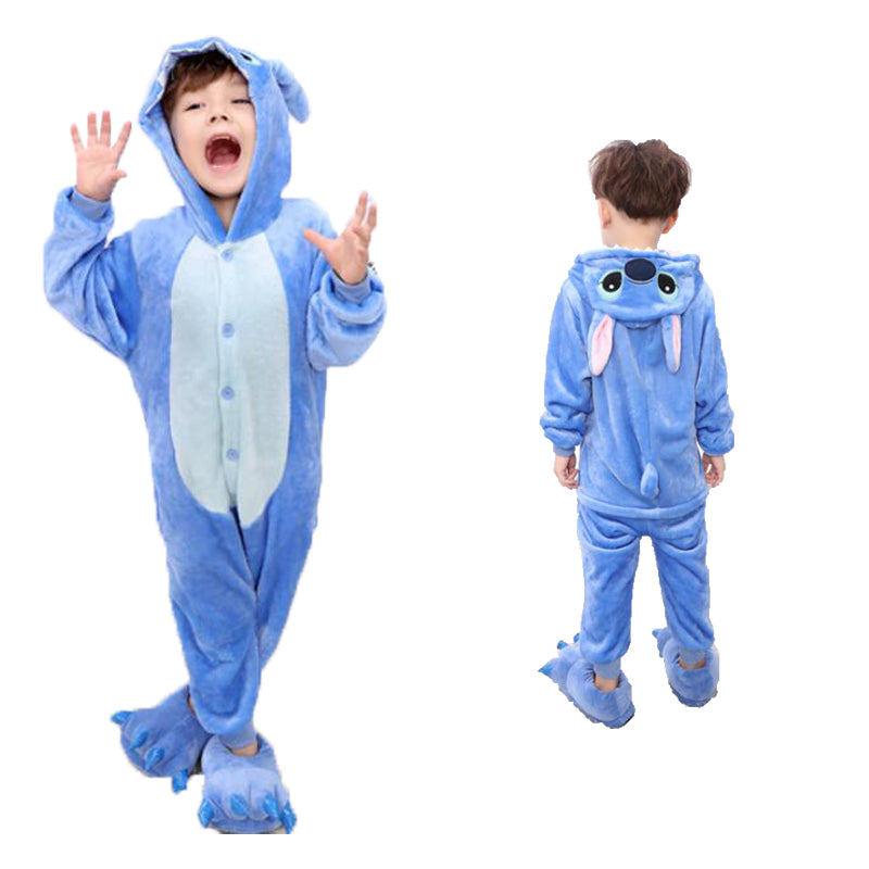 Kids Blue Stitch Animal Onesie Pajamas Cosplay Costume CMD035