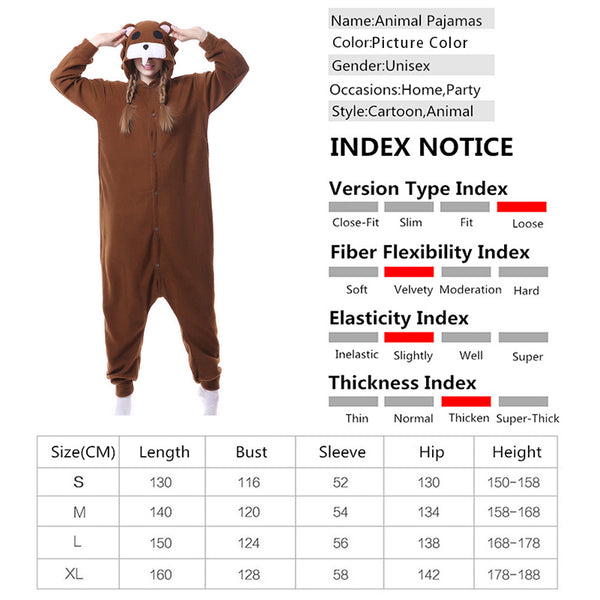 Animal Pajamas Brown Bear Kigurumi Cosplay Costume CMD158