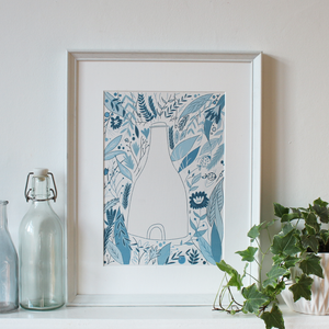 Blooming Blue Potters Print