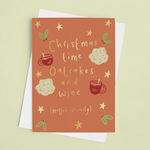 Christmas time oatcakes & wine greeting card