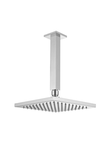 Square Ceiling Shower 200mm rose, 200mm dropper - Polished Chrome