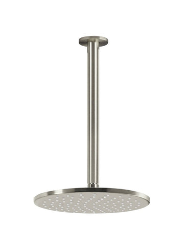 Round Ceiling Shower 250mm Rose, 300mm Dropper - Brushed Nickel