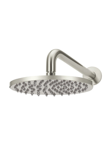 Round Wall Shower 200mm rose, 300mm curved arm - Brushed Nickel
