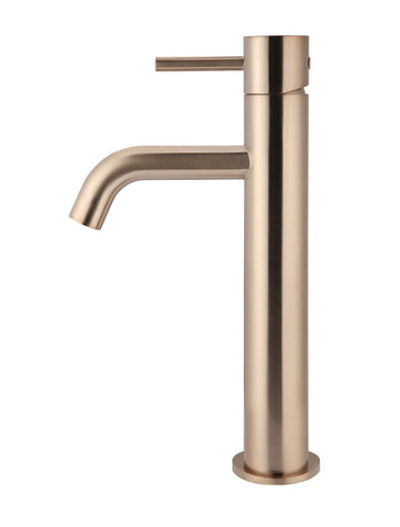 Piccola Tall Basin Mixer Tap - Champagne