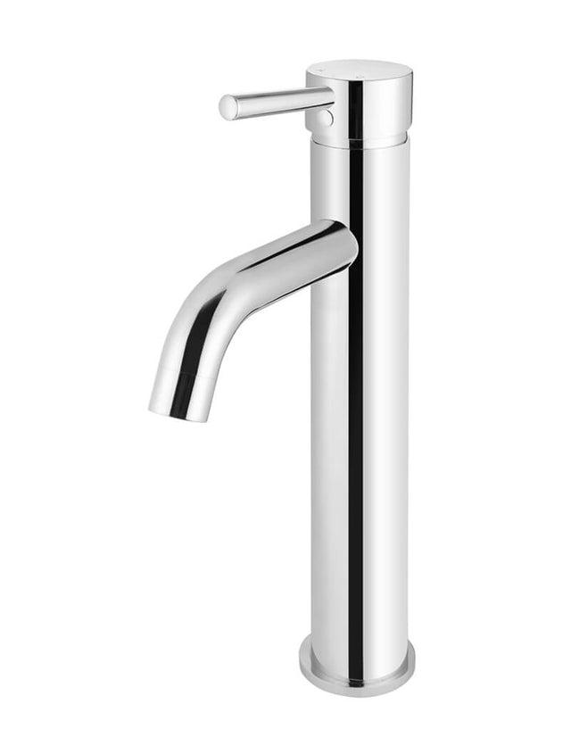 Meir Round Tall Basin Mixer Curved - Polished Chrome (SKU: MB04-R3-C) Image - 1