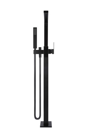 Square Freestanding Bath Spout and Hand Shower - Matte Black