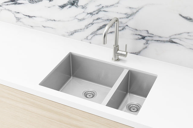 Meir Kitchen Sink - One and Half Bowl 670 x 440 - PVD Brushed Nickel (SKU: MKSP-D670440-NK) Image - 2