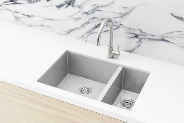 Meir Kitchen Sink - One and Half Bowl 670 x 440 - PVD Brushed Nickel (SKU: MKSP-D670440-NK) Image - 1