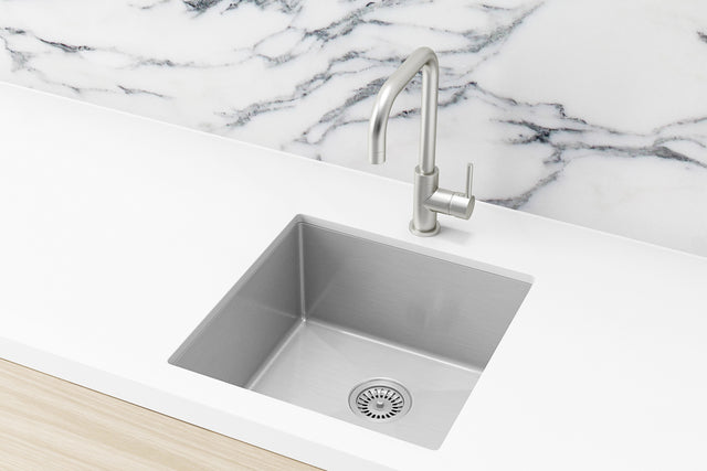 Meir Kitchen Sink - Single Bowl 450 x 450 - PVD - PVD Brushed Nickel (SKU: MKSP-S450450-NK) Image - 1
