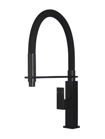 Square Flexible Kitchen Mixer Tap - Matte Black
