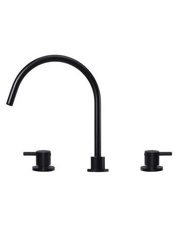 Round Three Piece Kitchen Tap - Matte Black