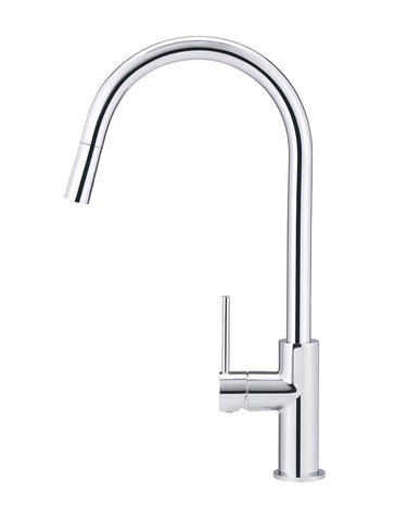 Round Piccola Pull Out Kitchen Mixer Tap - Polished Chrome