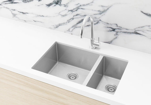 Double Bowl PVD Kitchen Sink  670x440x200mm - Brushed Nickel