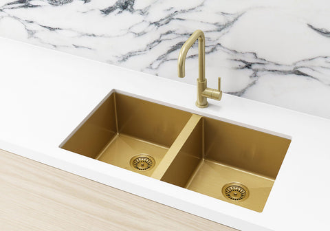 Double Bowl PVD Kitchen Sink 760x440x200mm - Brushed Bronze Gold
