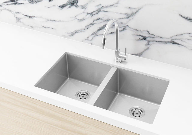 Double Bowl PVD Kitchen Sink  760x440x200mm - Brushed Nickel