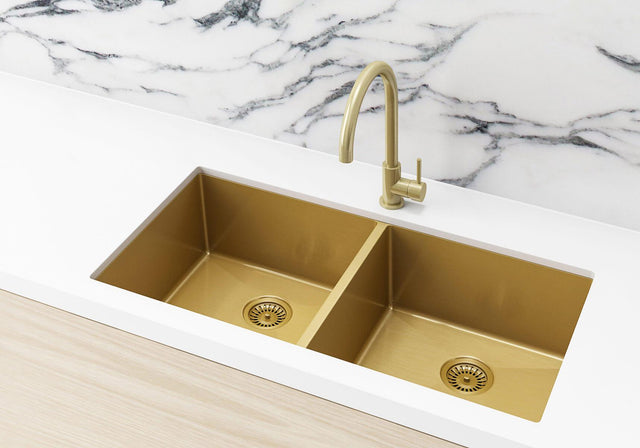 Stainless Steel Double Bowl Kitchen Sink 860x440x200mm - Brushed Bronze Gold