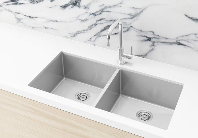Meir Kitchen Sink - Double Bowl 860 x 440 - PVD - PVD Brushed Nickel (SKU: MKSP-D860440-NK) Image - 1