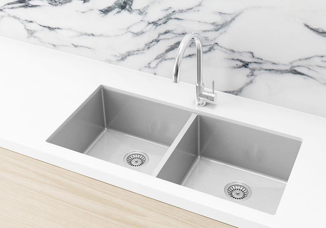Double Bowl PVD Kitchen Sink 860x440x200mm - Brushed Nickel