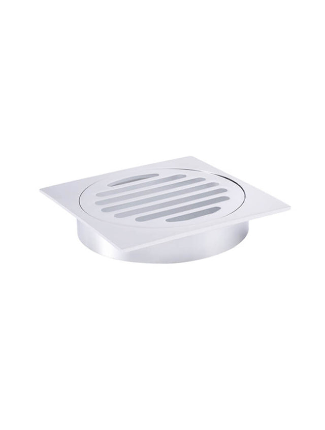 Meir Square Floor Grate Shower Drain 100mm outlet - Polished Chrome (SKU: MP06-100-C) Image - 3